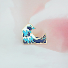 Blue waves brooch Enamel Pin buckle Cartoon Metal Brooch for Coat Jacket Bag Pin Badge Sea Jewelry Gift for Kids Girl Boy(China)