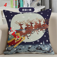 Maiyubo Invisible Zipper Linen Cartoon Pillow Case Sofa Decor Cushion Cover Luxury Christmas Printed Cover Happy Good Gift PC252