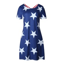 Fashion 2017 Summer Dress Sexy Casual Loose Five-pointed Star Print Dress Blue Dress Women Party Dresses Vestidos