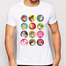 New Fashion Cartoon Character Printed Men T-shirt Super Mario Male Colorful Basic Tops Popular Boy Funny Tee