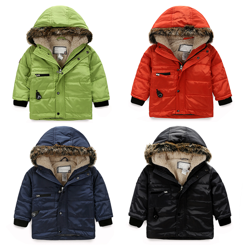 childrens winter clothing child plus velvet wadded jacket baby winter outerwear thickening male child solid color Pure colorОдежда и ак�е��уары<br><br><br>Aliexpress