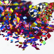STZ 12 Designs Rhombus 3D Nail Art Paillette Sticker Tips Mixed 2mm/4mm Diamond Colorful Slice Sequin DIY Decorations CHLX01-12