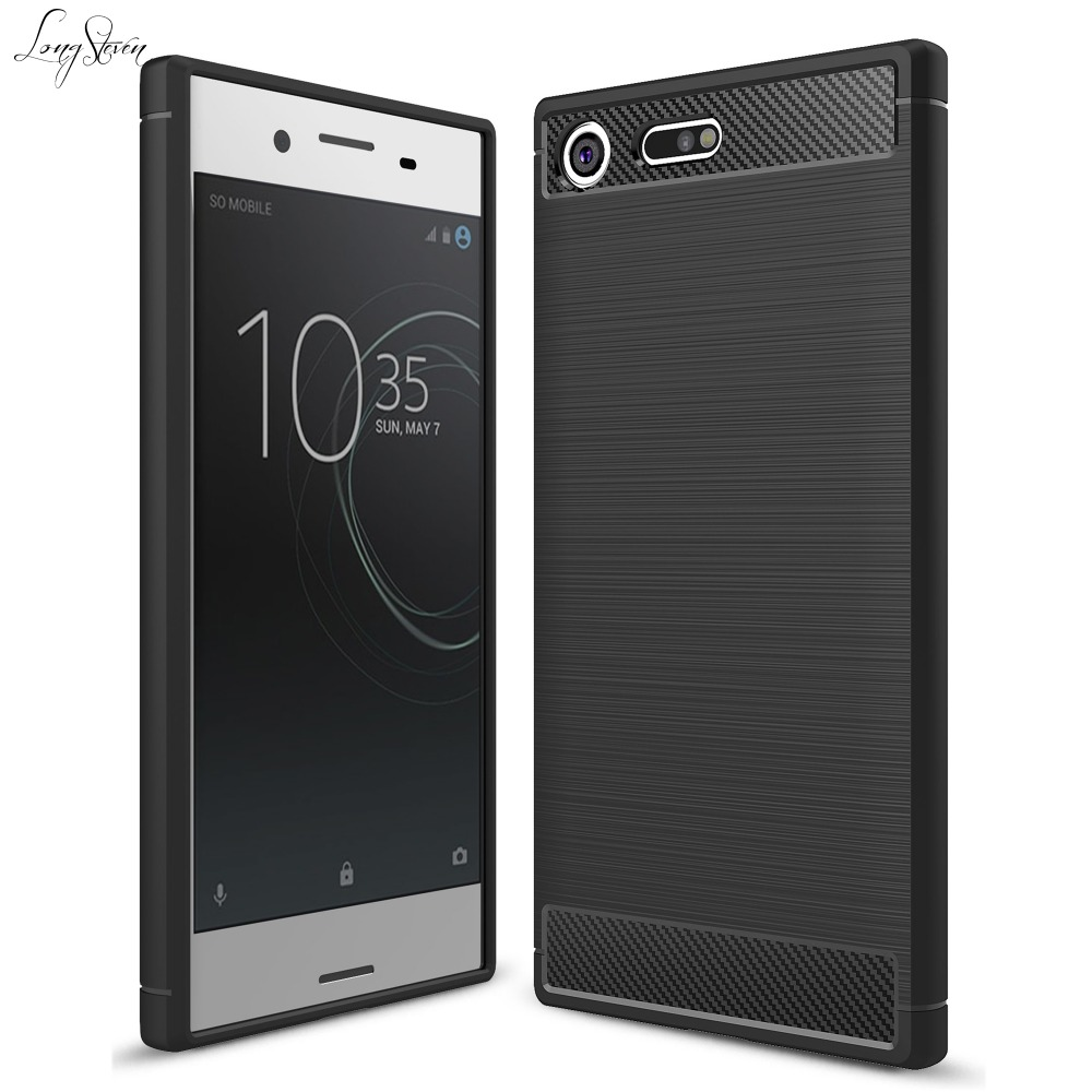 Long StevenFor Sony XZ Premium Case Ultra Thin Carbon Fiber Pattern Lightweight Protector Cover SONY Xperia XZ Premium Case
