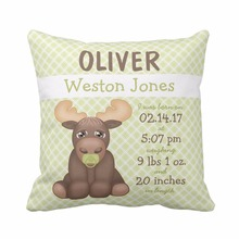 Custom Moose Nursery Keepsake Baby Birth Stats Christmas Throw Pillow Cover Polyester Cotton Cushion Cover Home Decorative(China)