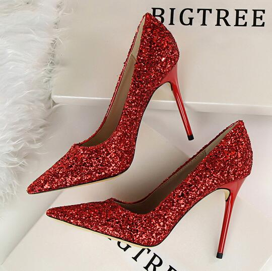 BIGTREE Brand Woman Shoes Gold Glitter Pumps Discount Ivalentine Shoes High Heels Princess Wedding Shoes<br>