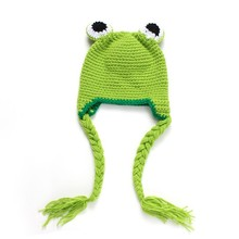 Handmade Knitted Baby Hat Frog Style Children's Winter Warm Hat Crochet Pattern Infant Animal Cap Photo Props H235(China)