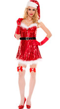 Sexy Women Sequins Christmas Costume Sweetheart Miss Santa Dress  For Christmas Party