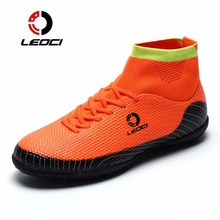 LEOCI Men TF Soccer Shoes High Ankle Football Boots With Socks Plus Size Soccer Cleat Boots Kids Boys Football Shoes Chaussures