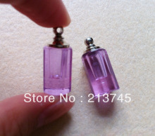 Freeshipping  Fair Purple  Perfume Glass Vial Pendant SCREW CAP Jewelry Pendant tube pendant