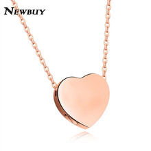 NEWBUY 2017 Fashion Rose Gold Color Heart Pendant Necklace For Women High Quality Stainless Steel Open Heart Design To Put Paper(China)