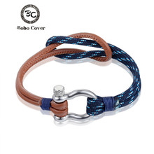 New Fashion Jewelry navy style Sports Camping Parachute cord Survival Bracelet Men Stainless Steel Shackle Buckle Colorful(China)