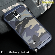 Fashion Camo Phone Case For Samsung Galaxy Note 4 Hybrid Plastic and TPU Hard Cover Camouflage Style Armor Protector N9100 Shell(China)
