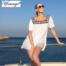 Vfemage Womens Sexy Embroidered Squre Neck Transparent Patchwork Lady Summer 2017 Casual Beach Loose Short Mini Shift Dress 6756