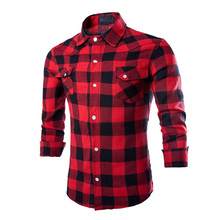 2017 New Spring Flannel Men Plaid Casual Campus Shirts Luxury Slim Long Sleeve Brand Formal Business Warm Shirts