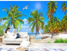 custom 3d wallpaper Blue sky backdrop of the Mediterranean Sea photo wallpaper for walls 3d customized wallpaper(China)