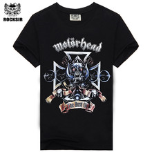 Brand clothing 2015 new Rock Motorhead design short sleeve black color motor head t shirt finess hip hop Tee(China)