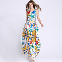 Long Dress 2016 Summer Fashion Star Elegant Sleeveless Blue and White Porcelain Print Maxi Big Swing Classic Floor Length Dress
