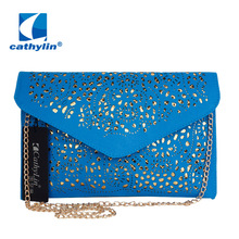 Cathylin Hot New Hollow out women envelope bag neon color cutout handbag pu leather candy color day clutch womens shoulder bags
