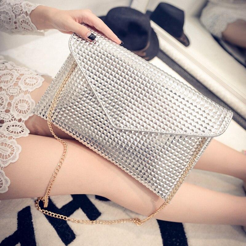 Fashion chain envelope clutch bag shiny PU leather Crossbody Bags Womens Shoulder bag Clutches Diamond Lattice evening bags<br><br>Aliexpress