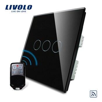 ValueBox, Smart Switch, Livolo Black Pearl Crystal Glass Panel, Remote Control UK Switch & Remote,VL-C303R-62&VL-RMT-02,