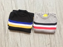 3-8 years 2017 Kids childrens casual solid stripe girls Knit Sweater(China)