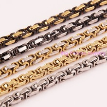 8-40inch Customed Size 5/6/8mm Men Bracelet/Necklace 316L Stainless Steel Multiple Color Choose Byzantine Box Chain Top Hot Sell(China)