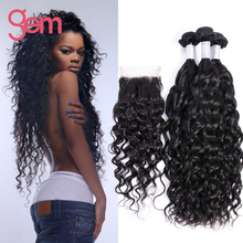 Malaysian Virgin Hair Lace Closure With Bundles Water Wave 3 Bundles Human Hair Weave With Closure Virgin Malaysian Hair Bundles