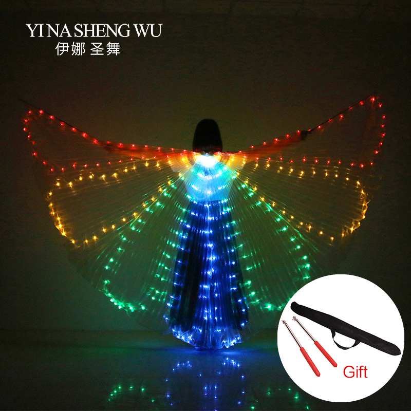 Belly Dance LED Wings Colorful Performance Costume Dance Accessories Girls LED Wings Costume LED Butterfly Wings With Stick Bag