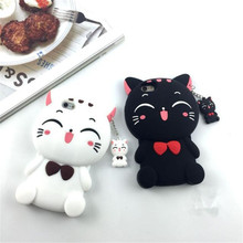 3D Luxury Cute Cartoon Lucky Cat Soft Silicone Mobile Phone Back Case Cover Skin Shell For iPhone5G 5S 6G 6S 6 PLUS 7G 7 Plus(China)