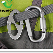 Aluminum Alloy D And 8 Shape Climbing Carabiner Screw Lock Bottle Hook Buckle Hanging Padlock Keychain Camping Hiking(China)