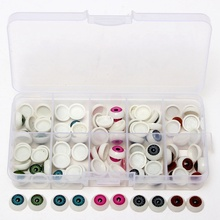 100pcs/box Dolls Accessories 12mm Doll Eyeballs Half Round Acrylic Eyes for DIY Doll Bear Crafts Mix Color Plastic Doll EyeBall