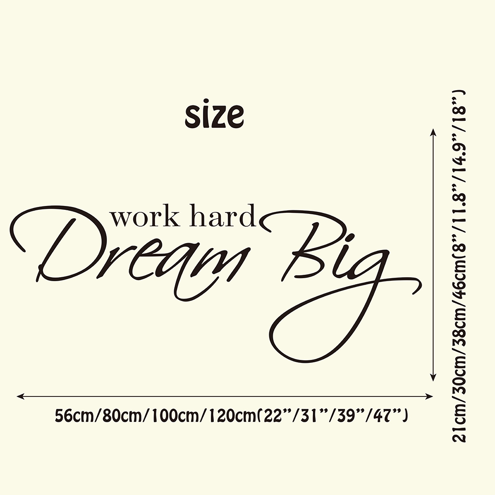 Detail Feedback Questions About Work Hard Dream Big Wall Sticker