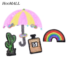 Hoomall 4PCs/Set  Iron-On Transfers Stripes For Clothes Patches Embroidered Applications Sewing Fabric Sequin Appliques