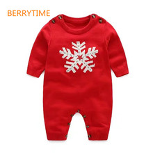 Baby Boy/Girl's Snowflake Knit Romper Kids Autumn&Winter Long Sleeve Jumpsuit for Infantil One-piece Clothing, Christmas Wearing