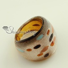 Silver foil Italian venetian lampwork blown murano glass finger rings jewelry jewellery high fashion jewellery