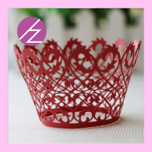 50pcs/ Set Vine Lace Laser Cut Cupcake Wrapper Chinese Red Cup Cake Wedding Gift Box Birthday Party Favor Baby Shower Decoration(China)
