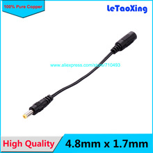 1pcs 4.8mm x 1.7mm male DC power cable to female 5.5mm 2.1cm DC Power Connector cable adapter Free shipping(China)
