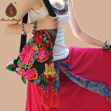 Naxi.Hani Brand Ethnic embroidery Messenger shoulder bags Vintage canvas triangle bags Fashion Beaded tassel Travel bags