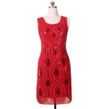 SEPTDEER Europe Slim Shiny Sequined Spliced Embroidery Flower Mini Tank Dress Red Dropshipping KR3009(China)