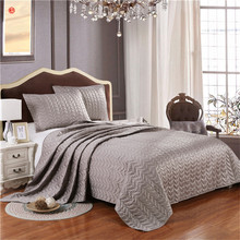 Home textile silver gray quilt bedspread Summer comforter pink blanket king bedding 3pcs(one quilt +two pillowcases) bed cover(China)