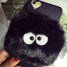 phone case for iPhone 6 6S 6plus 6Splus 7 7plus totoro bLACK briquettes fur purse bag wallet small cover free shipping