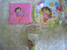 22pcs/lot cartoon DORA THE EXPLORER kids birthday theme party and party decoration disposable tableware set for 6 people
