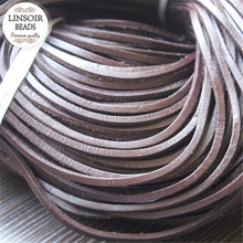 10meters/lot 3mm Flat 100% Genuine Cow Leather Cord Rope Thread String Diy Necklace Bracelet For DIY Jewelry Materials F660