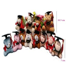 50pcs/lot, 7cm stuffed Graduation Bear keychain, graduation dog, graduation monkey plush graduation animals, 11 styles to choose