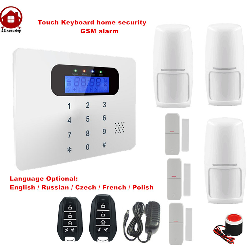 Touch keyboard LCD display home security GSM alarm system with wireless strobe siren kit 6 language to choose 101 zone alarm<br>
