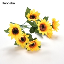 Haodeba 7pcs Large Sunflower Artificial Flower Head /bunch  For Wedding Car Decoration DIY Garland Decorative Fake Flowers