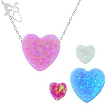 Opal heart pendant fire opal stone real opal necklace jewelry chokers necklaces for women 925 sterling silver necklace women