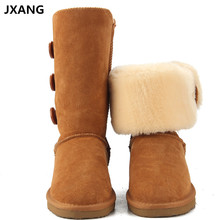 Buy JXANG High Fashion Women UG Snow Boots Genuine Leather Woman Boots Fur Long Warm Wool Shoes Women High Winter Boots for $42.34 in AliExpress store
