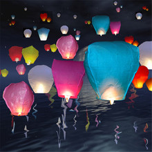 30pcs/lot Paper lantern Chinese wishing lantern hot air balloon Fire Sky lantern for Thanksgiving Birthday Wedding Party color