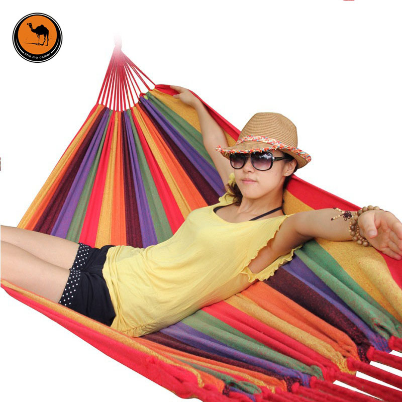 Portable Hammock 200*150cm Camping Backpacking Hiking Woven Cotton Fabric Rainbow Striped 200*80cm Wide Size Double Hammocks<br>